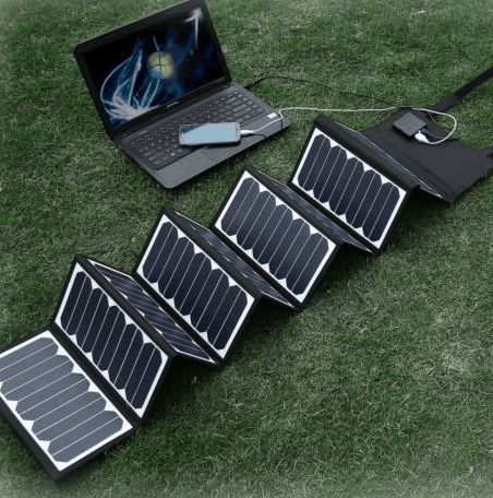 solar bank charging on grass