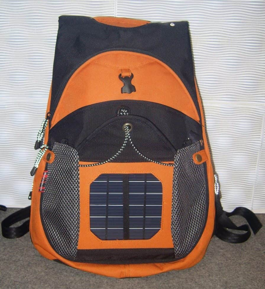 orange solar backpack on carpet