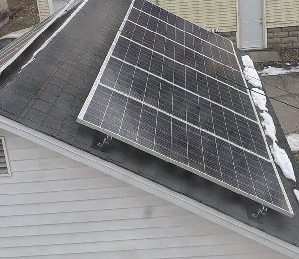solar panels on garage in winter