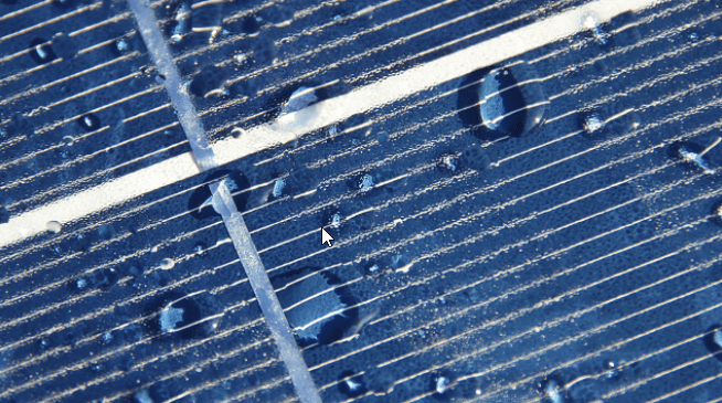 raindrops on solar panel