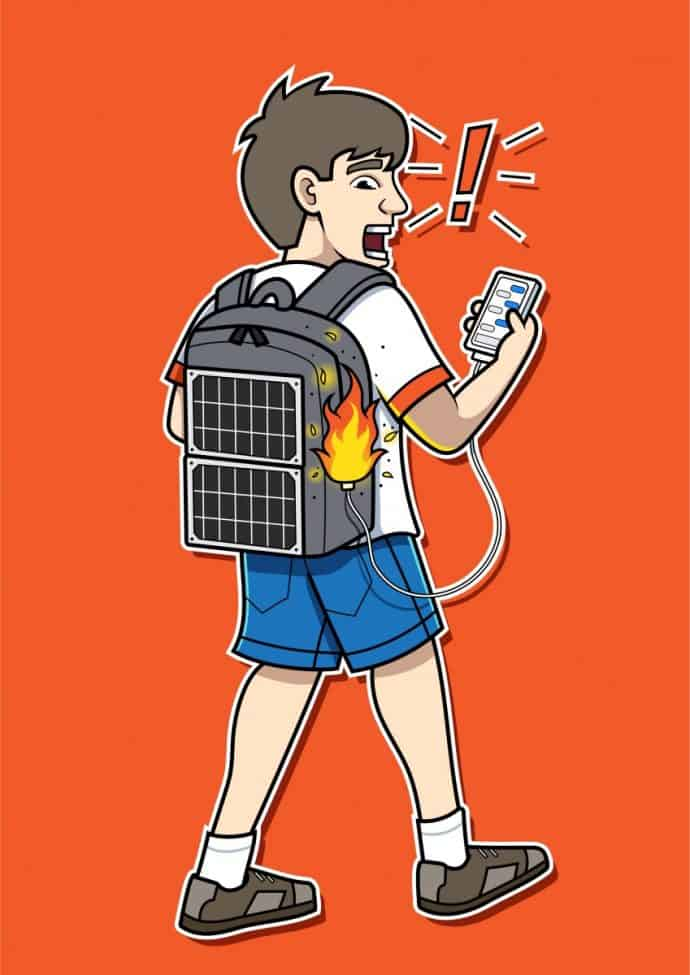 solar backpack catching fire