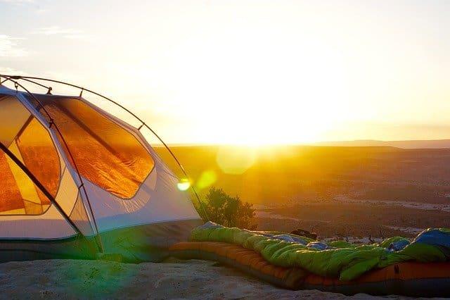 open mesh tents in sunlight